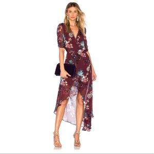 NWT NICHOLAS Burgundy Floral Wrap Dress